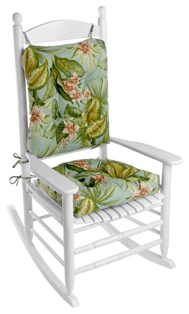 Porch Outdoor/Indoor Floral Jamaica Mist Rocking Chair Cushion Set ...