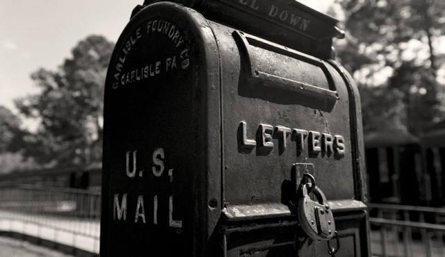 Old us mailbox vintage mailbox rusk texas fine art black and white photography