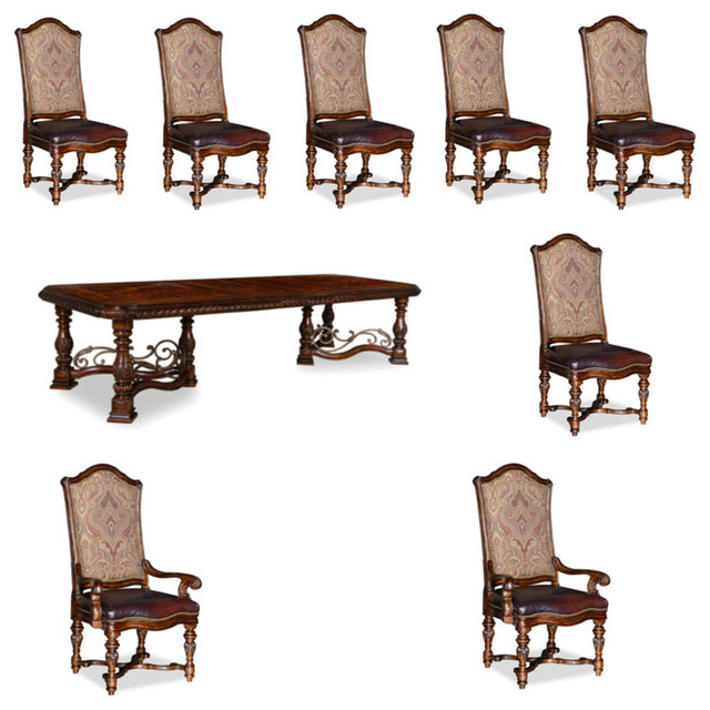 Valencia 9-Piece Dining Room Set, Dark Oak
