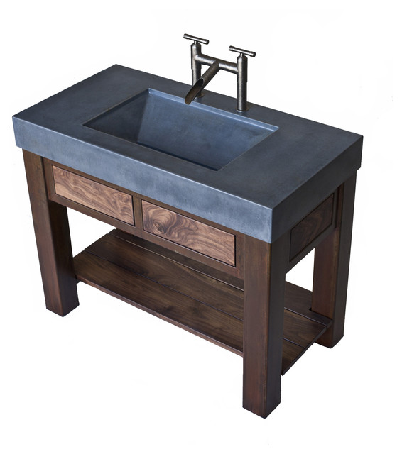 bathroom vanity trough sink concrete trough sink with patinaed steel and black walnut 17049