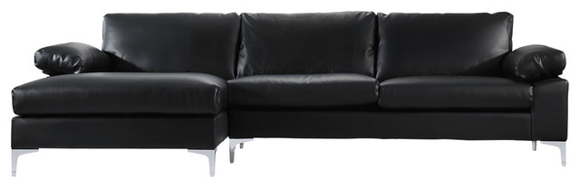 Modern Large Faux Leather Sectional Sofa With Extra Wide