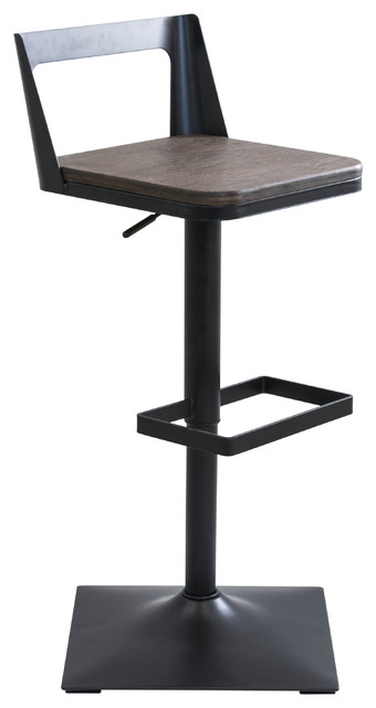Lumisource Samurai Adjustable Barstool, Black and Espresso