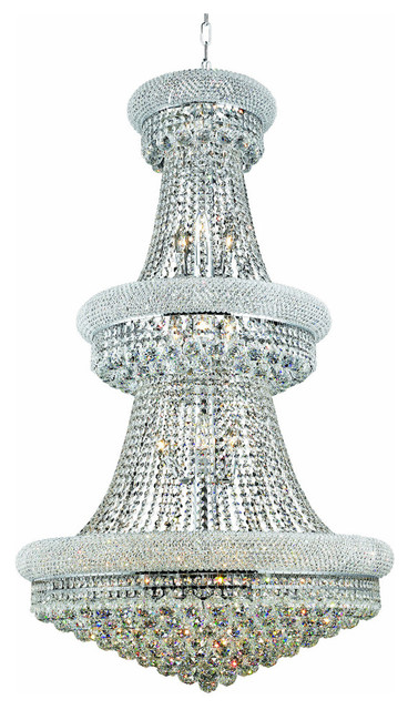 Primo 32 Light Chandelier Elegant Cut Clear Crystal Chrome