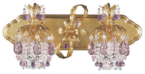 Bathroom Vanity Lighting Crystal schonbek lighting 1255-26am rondelle french gold 2 light vanity