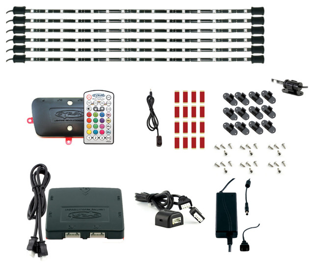 "6""x24"" LED Multicolor RGB TV Accent Under-Cabinet Lighting Kit - Contemporary - Undercabinet ..."