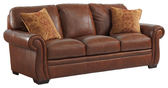 Halston Leather Sofa With 2 Pillows.