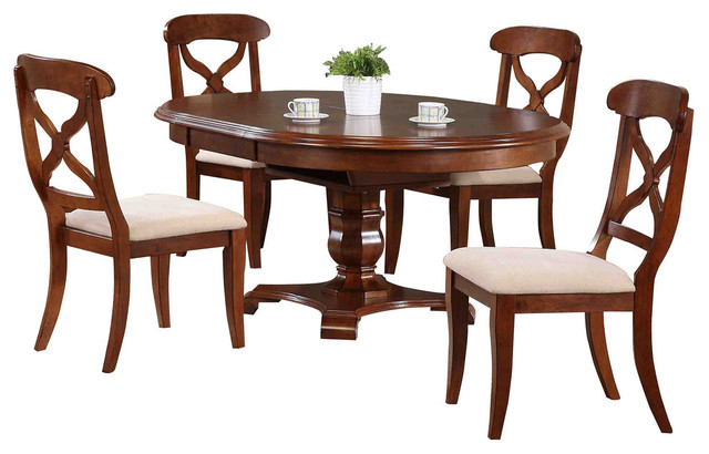 Sunset Trading 5 Piece Andrews Butterfly Leaf Dining Table Set In Chestnut  Traditional Dining