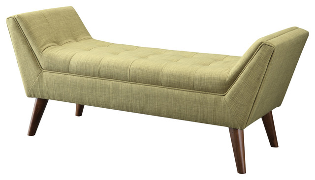 Living Room Fabric Bench, Green.