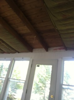 How to finish drywall around wood joists for Ways to finish a ceiling