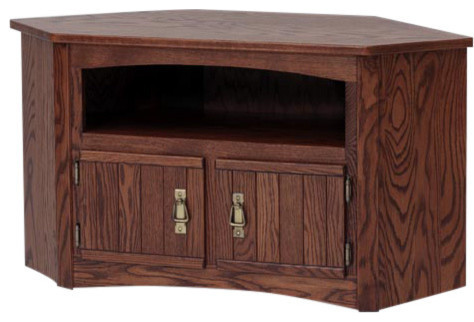 Solid Oak Mission Style Corner TV Stand/Cabinet, Autum Oak  Traditional Entertainment