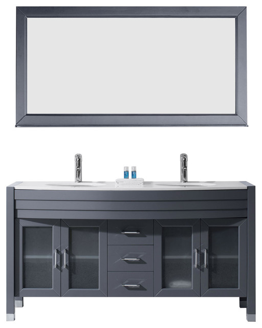 "Ava 63"" Double Bathroom Vanity Set, Gray, Stone Countertop, Round Basin."