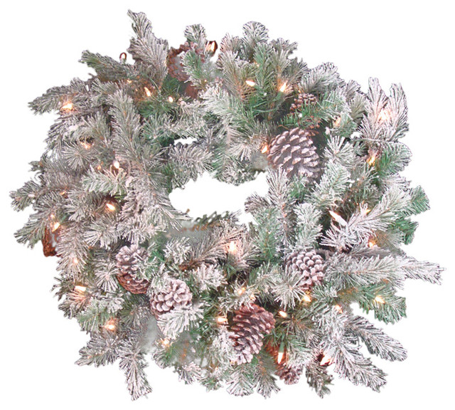 """30"""" Flocked Pine Cone Christmas Wreath, Clear Lights."""