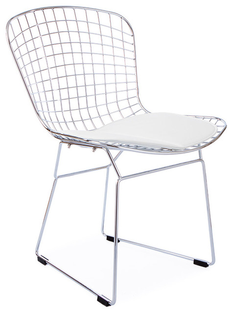 Eames wire chair cushion - Mid Century Retro Wire Side Chair White Seat Cushion Dining Chairs