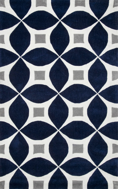 "Hand-Tufted Gabriela Area Rug, Navy, 7'6""x9'6"""