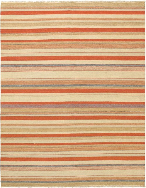"Solid/Striped Kaleidoscope Area Rug, Rectangle, Orange-Dark Copper, 6'7""x8'2"""