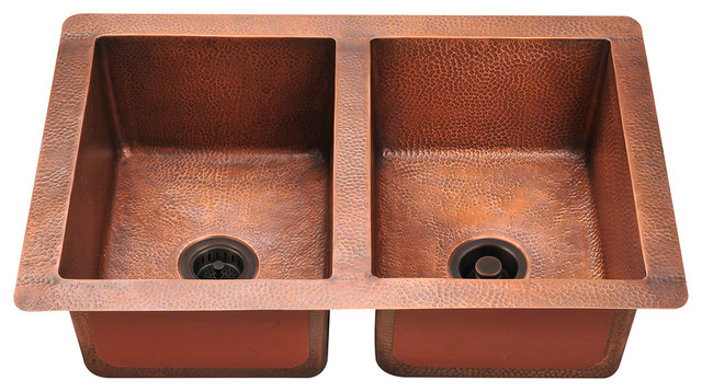 P209 Equal Double Bowl Copper Sink