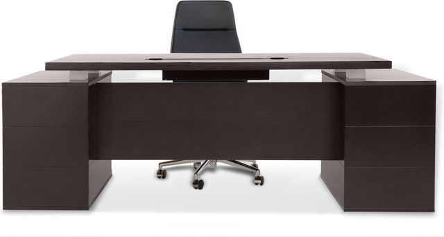 Zuri Furniture Ford Executive Desk with Cabinets - Dark Wood - Desks And Hutches | Houzz
