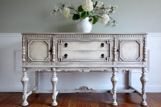 Antique Hand Painted Distressed White Jacobean Buffet ...