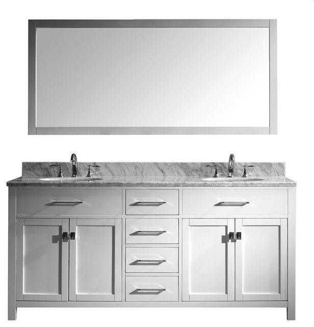 "Virtu Usa Caroline 72"" Double Round Sink Top Vanity, White With Mirror."