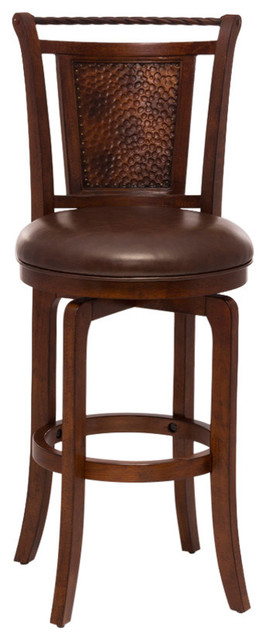 Riley Wood Top Metal Spoke Swivel Bar Stool Transitional