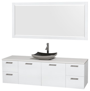 Amare 72 Glossy White Vanity 70 Mirror Bathroom Vanities And S