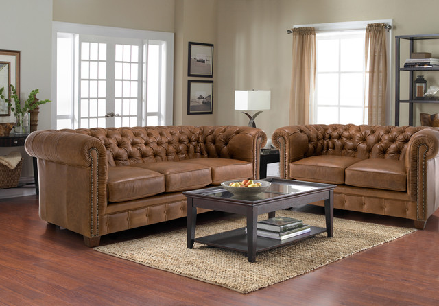 Hancock Tufted Distressed Saddle Brown Italian Leather Sofa And