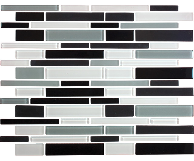 12 X12 Black White And Gray Linear Gl Tile Mix