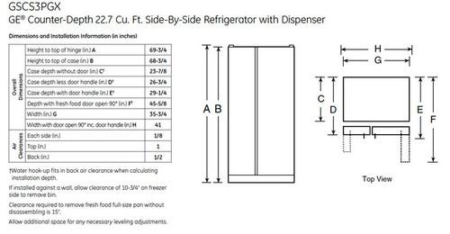 counter depth refrigerator door swing calculation
