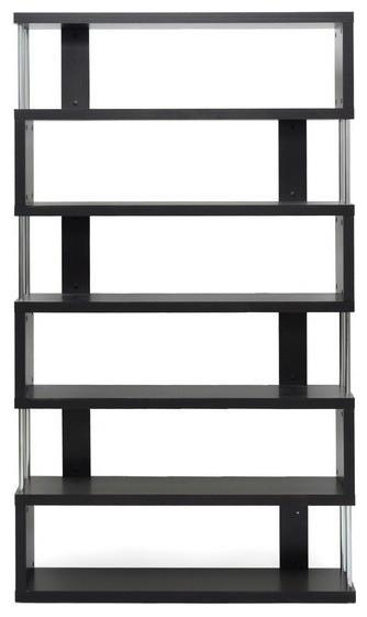 Baxton Studio Barnes Six, Shelf Modern Bookcase, Dark Brown