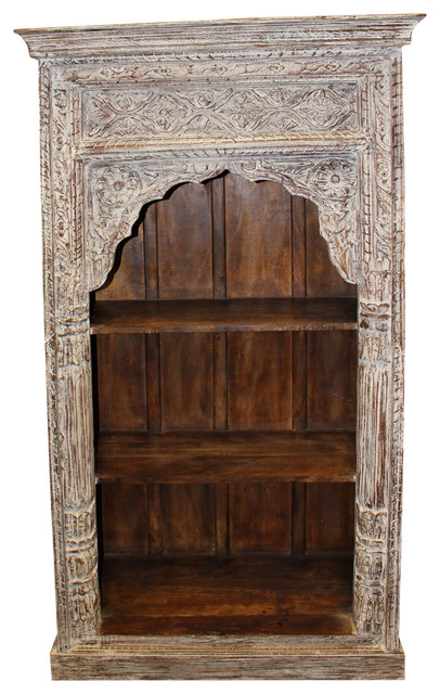 Consigned Antique Mediterranean Rustic White Arched Bookcase Vintage Storage Bookcases By Mogul Interior