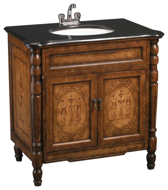 Brown Vanity Sink With Black Granite.