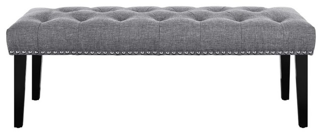 Diamond Button Tufting Foam, Hardwoods Bench With Gray.