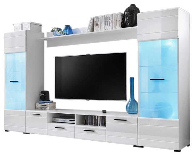 Modern Entertainment Center Wall Unit With 15 Colors Led Lights 65 Tv Stand