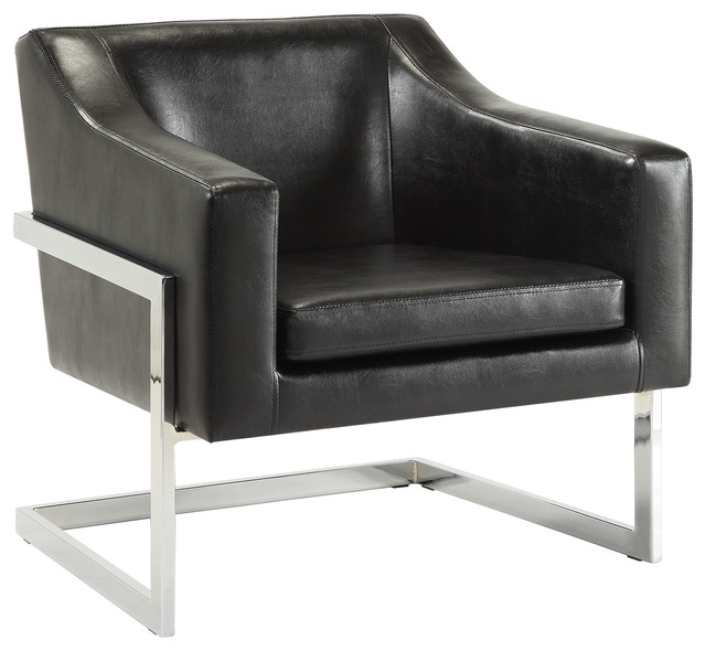Accent Chair In Black Leatherette With Exposed Metal Frame, Black