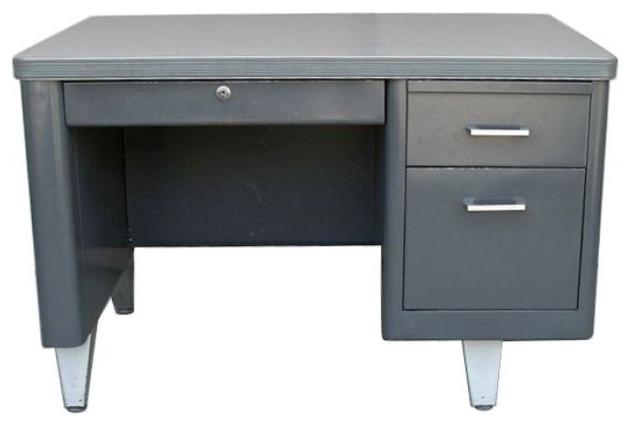 Vintage Metal Single Pedestal Tanker Desk 900 Est Retail 300 On Chairish