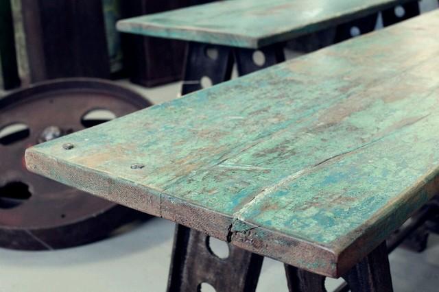 Esstisch massiv vintage  esstisch.bürotisch.schreibtisch.vintage.massiv.stahl.tischwerk ...