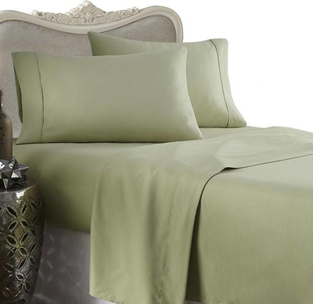 Sage California King 4-Piece Bed Sheet Set