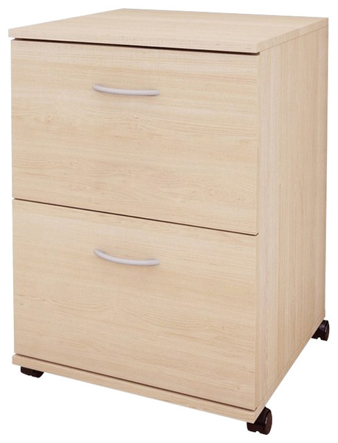 Essentials 2-Drawer Mobile Filing Cabinet 5093 from Nexera, Natural Maple - Modern - Filing ...