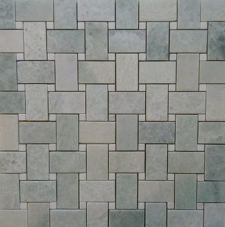 Marble Basketweave Tile >> Ming Green Marble Basketweave With White Dot Polished On