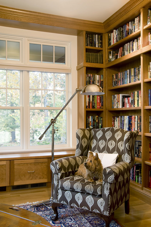 Forest View Residence Library traditional media room