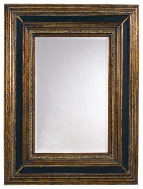 Rectangular Wall Mirror in Antique Gold & Black Frame