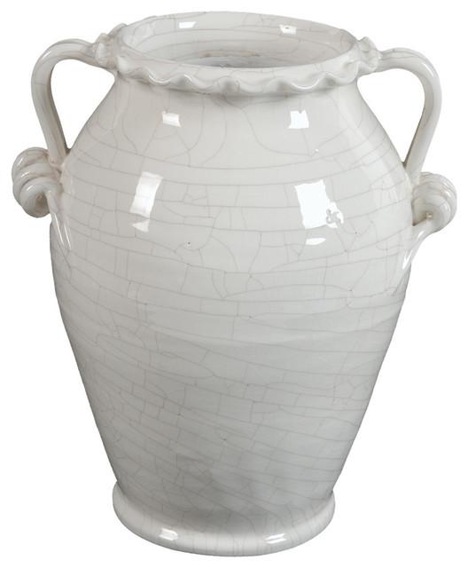 Glazed Ceramic White Vase With Handle Mediterranean Vases By