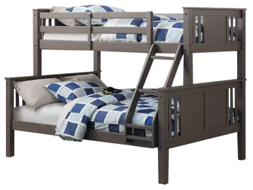 Gray Twin Over Full Bunk Bed.