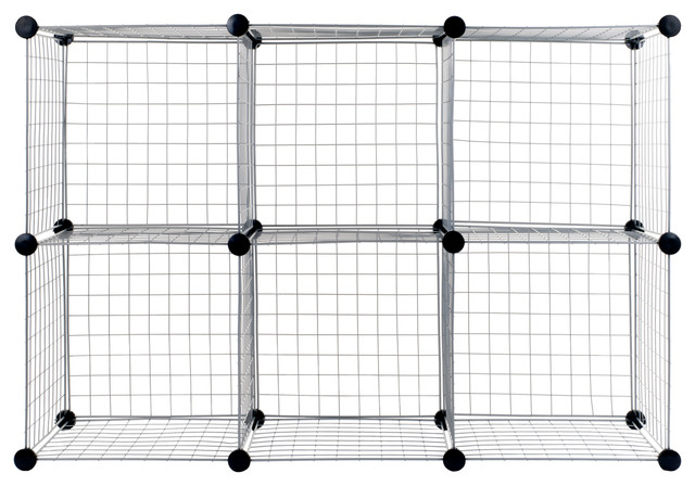 Awesome Everyday Home Modular Mesh Storage Cube, 6 Pack, Silver Contemporary Storage  And