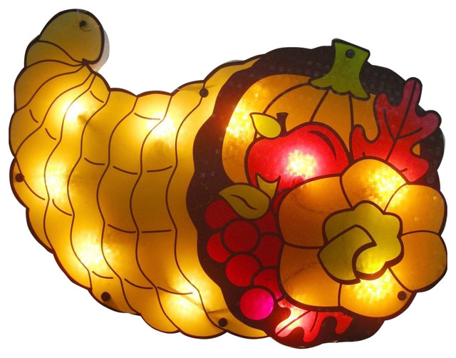 20 Lighted Cornucopia Thanksgiving Window Silhouette Decoration, Set Of 4.