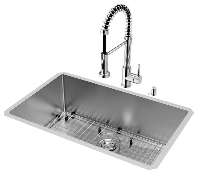 "Vigo All-In-One 30"" Mercer Undermount Kitchen Sink Edison Faucet In Chrome."