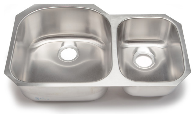 Clark 70/30 Double-Bowl Kitchen Sink, Stainless Steel - Traditional ...