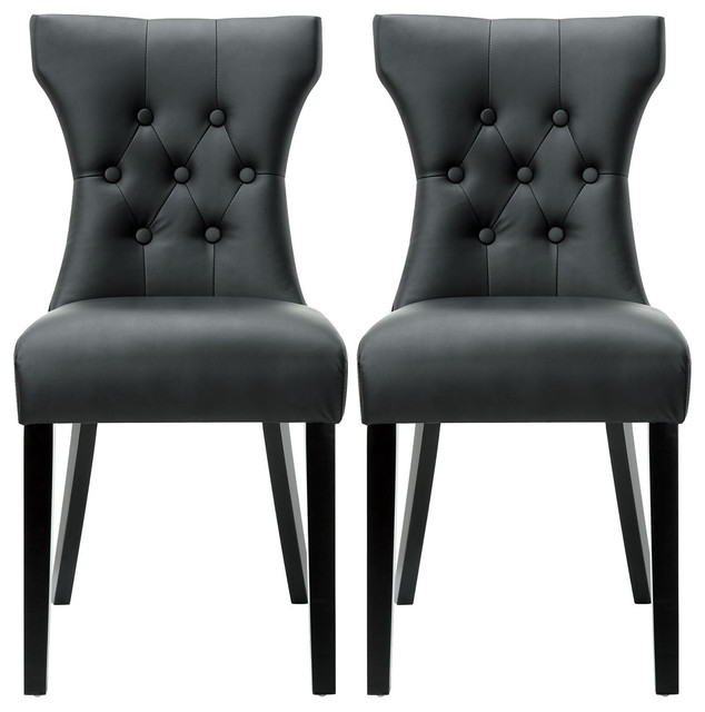 Modern Leather Tufted Back Elegant Dining Chair Nailhead Set Of 2 Black