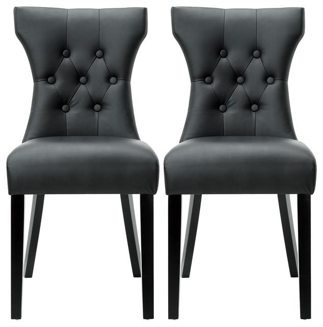 Modern Leather Tufted Back Elegant Dining Chair, Nailhead, Set Of 2, Black.