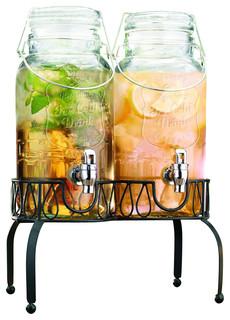 Twin Ice Cold Mason Jar Drink Dispenser Farmhouse
